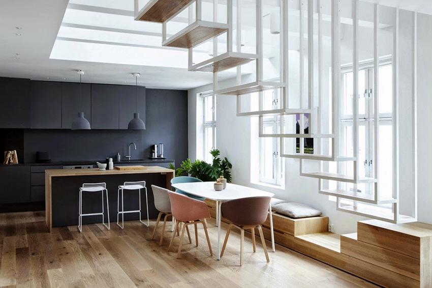 Часто в скандинавских домах можно встретить оригинальные конструкции лестниц
