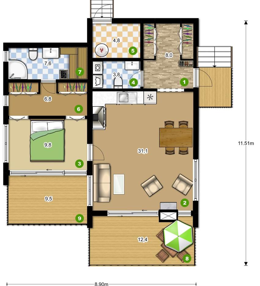 Проект каркасного дома в стиле хай-тек на 88 квадратных метров
