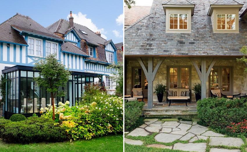 Для внешней отделки домов в стиле прованс используют камень, штукатурку, дерево и другие натуральные материалы