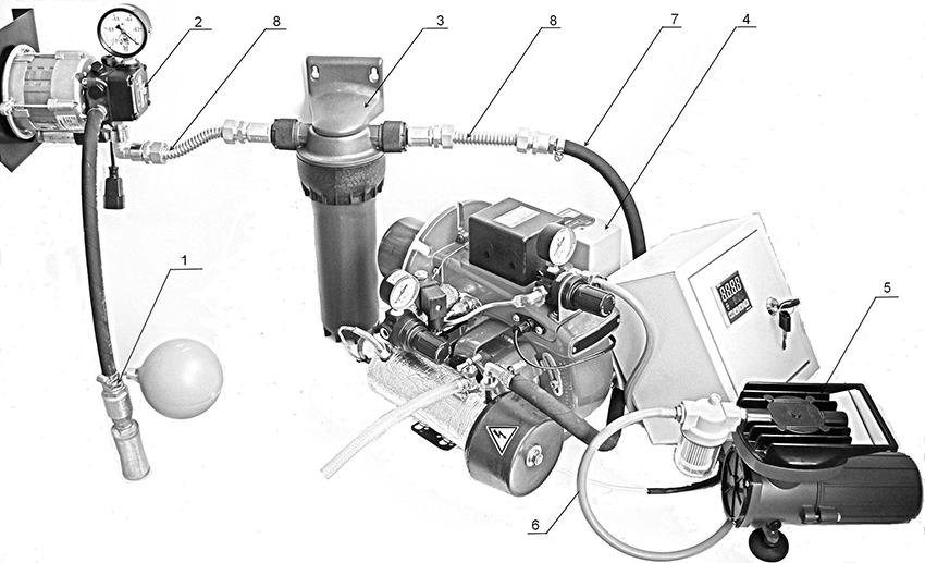 Схема сборки горелки, где 1 – топливозаборник; 2 - топливный насос; 3 – топливный фильтр; 4 – горелка; 5 – компрессор; 6 – шланг воздушного компрессора; 7 - топливный шланг; 8 – топливопровод