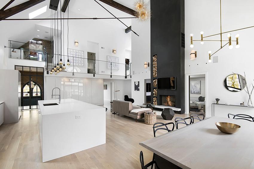 Гостиные в стиле лофт белого цвета выглядят просторно, стильно и броско