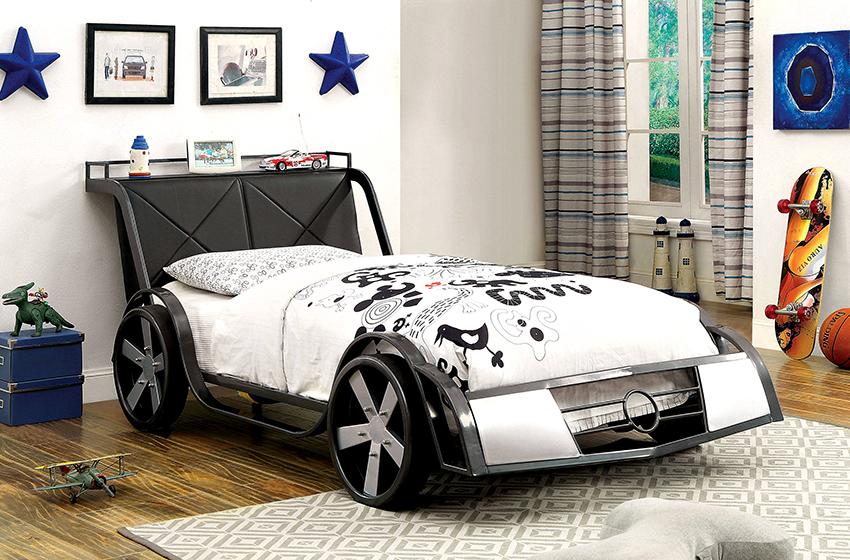 Кровать-автомобиль выглядит оригинально и подходит для мальчиков от 3 до 12 лет