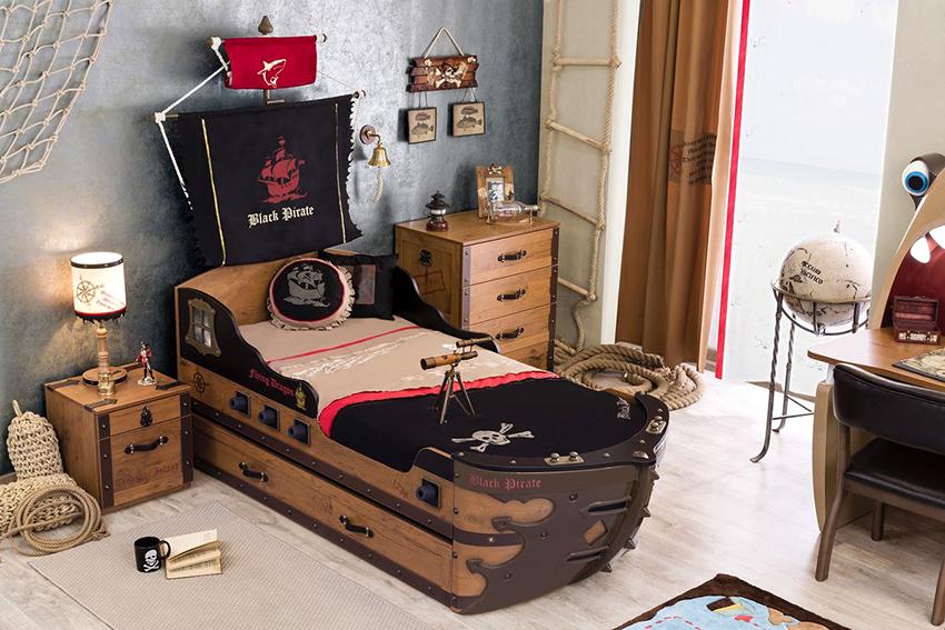 Кровать в виде лодки, катера или корабля приведет в восторг любого мальчика