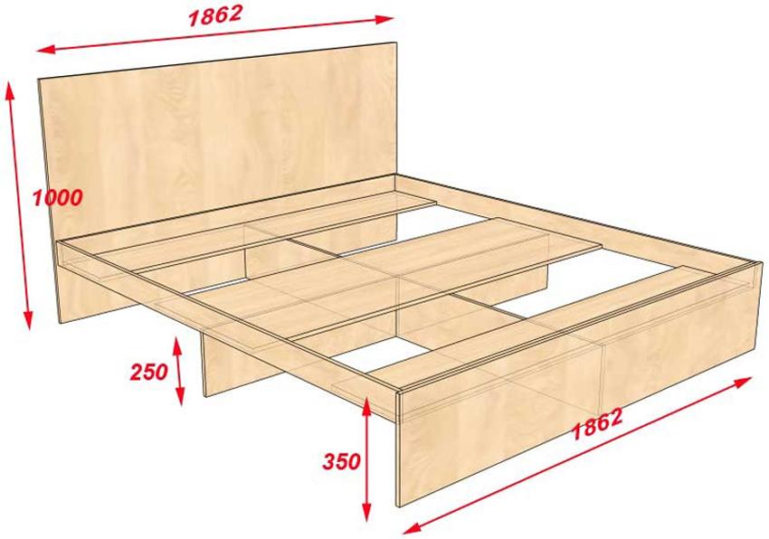 Чертеж изготовления кровати-подиума из дерева с размерами