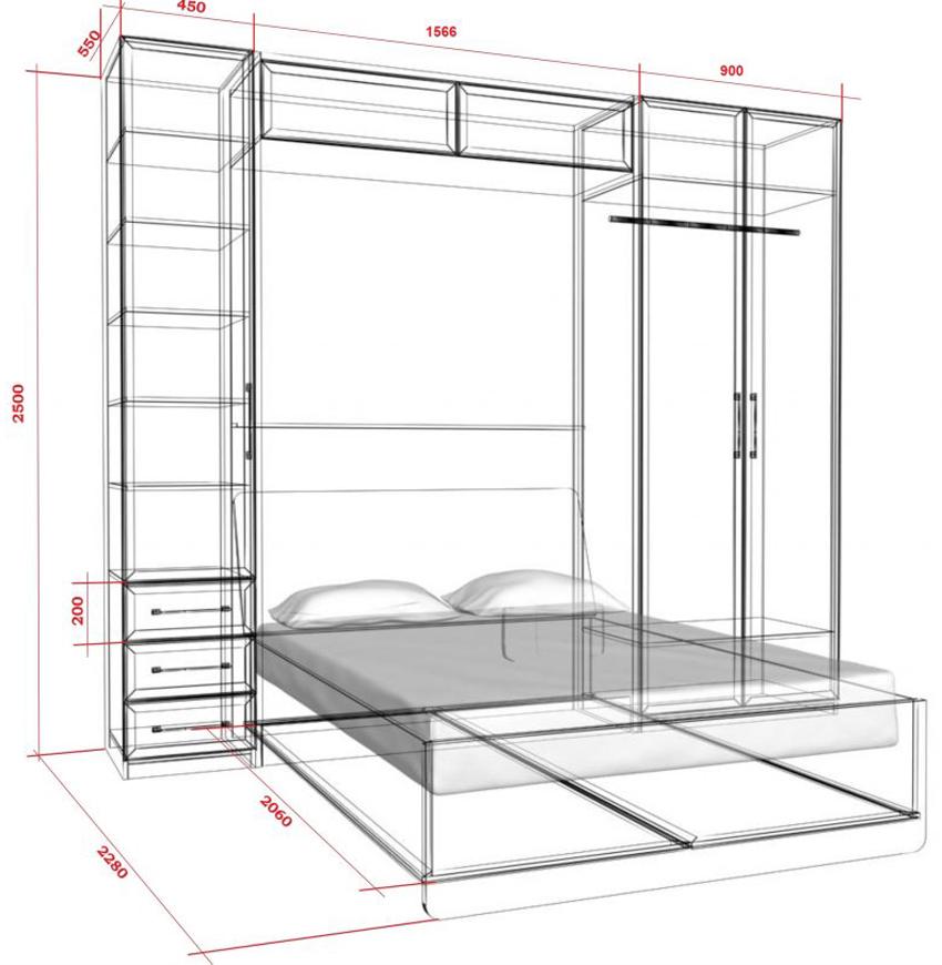 Чертеж для изготовления шкафа-кровати с размерами