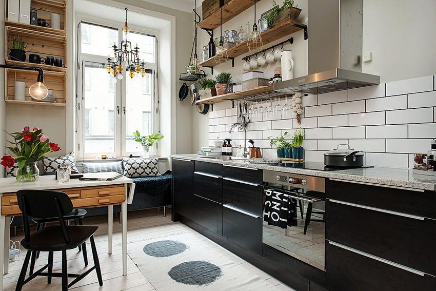 Черный и графитовый цвета часто используются в скандинавских кухнях