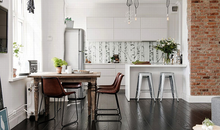 Отлично смотрятся кухни, оформленные в сочетании стилей ‒ лофта и скандинавского