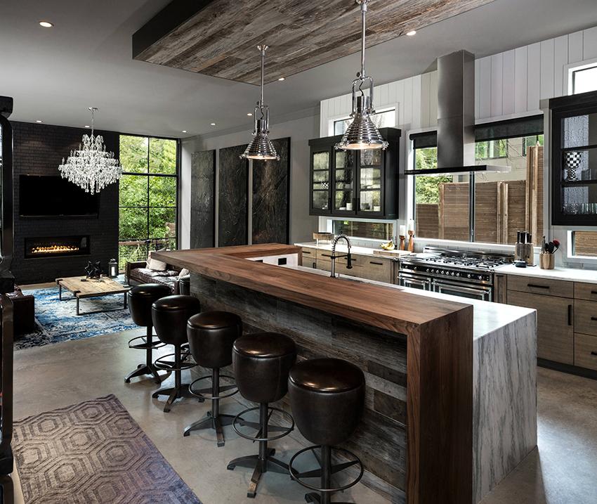 Для стиля лофт уместно использовать мебель из разнообразных материалов