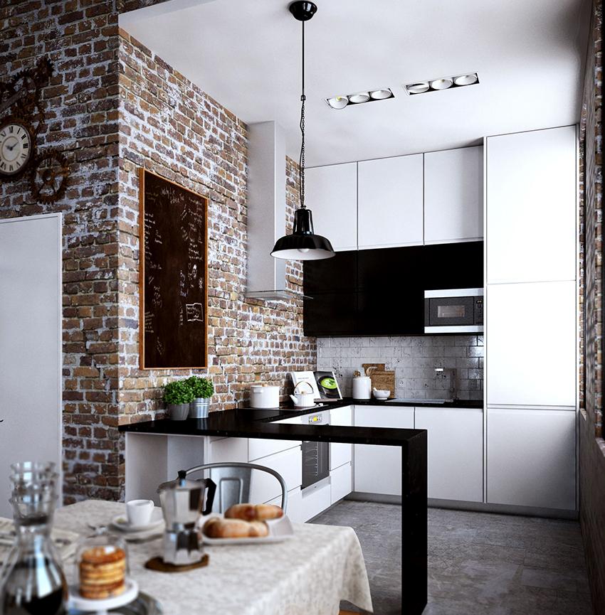 Если кухня маленькая, то для удобства желательно рабочую зону размещать П-образно