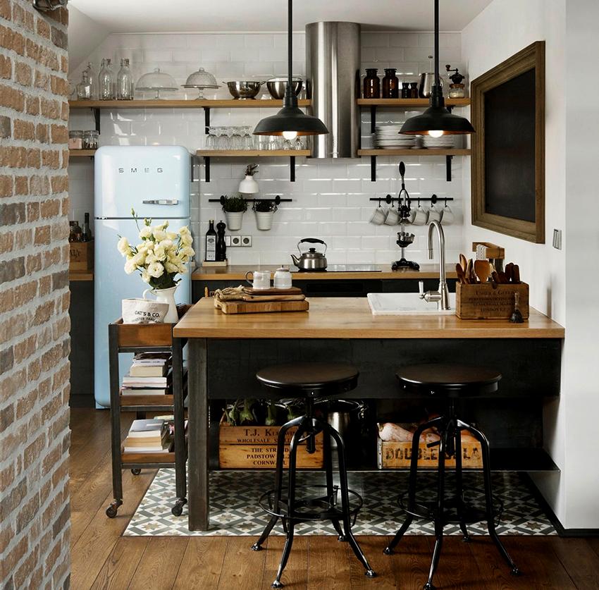 Чтобы визуально увеличить пространство маленькой кухни-лофта рекомендуется оформлять ее в светлых тонах