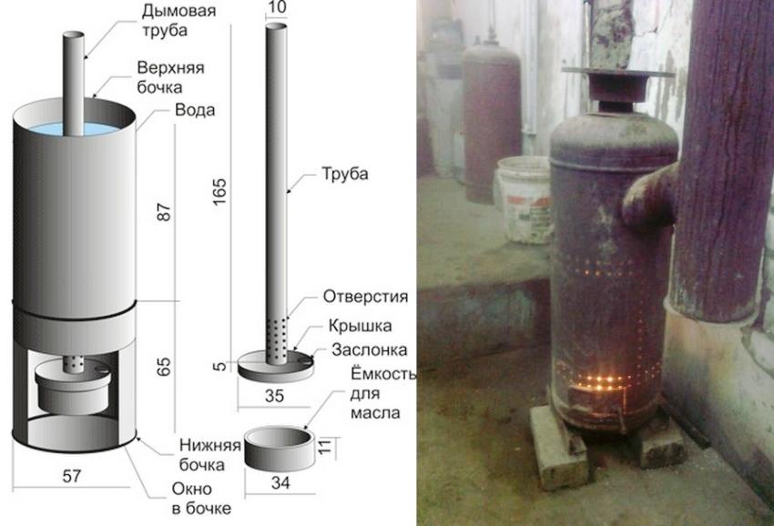 Для процесса изготовления печи на отработанном масле понадобится газовый баллон емкостью 50 л