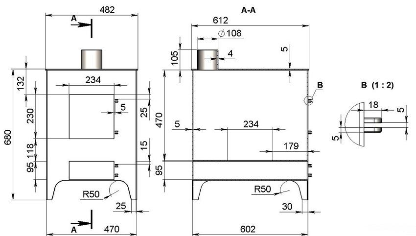 На схеме по изготовлению вертикальной буржуйки в гараж представлены все необходимые размеры