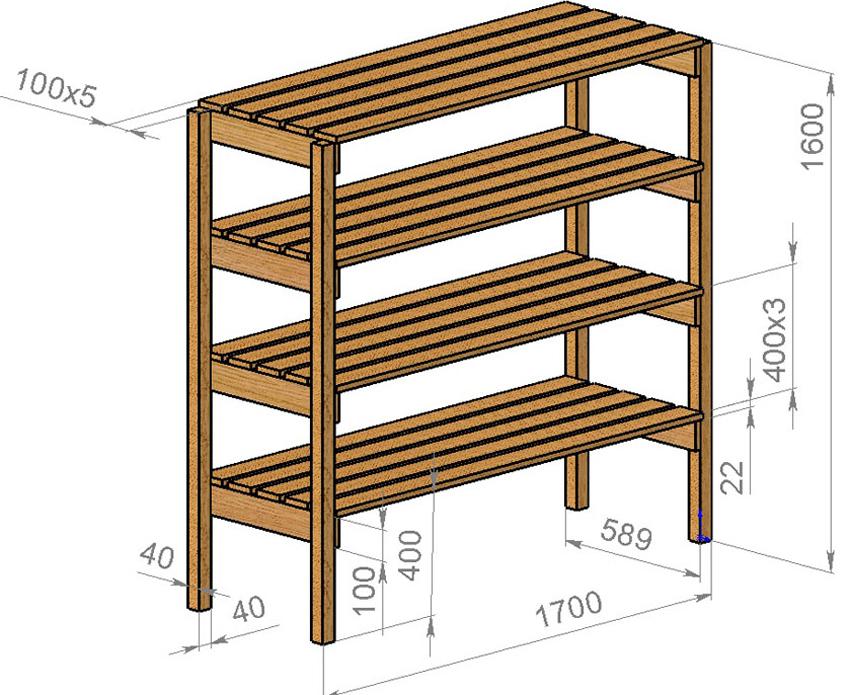 Чертеж простой деревянной полки для обуви с размерами