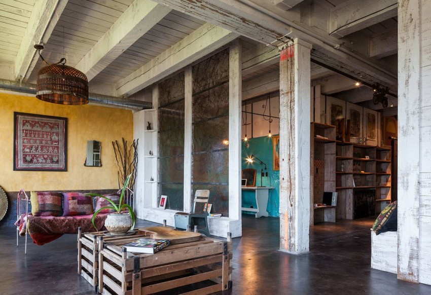 В интерьере в стиле лофт рекомендуется применять мебель, которая отличается функциональностью и практичностью