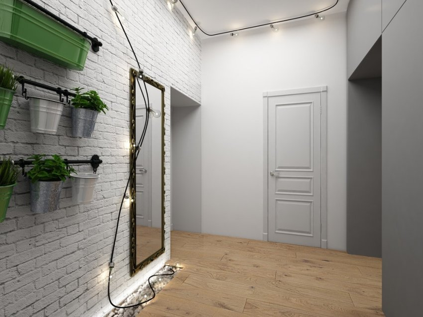 Маленькую прихожую в стиле лофт с помощью белого цвета можно наполнить яркостью и светом, а также визуально сделать ее просторнее