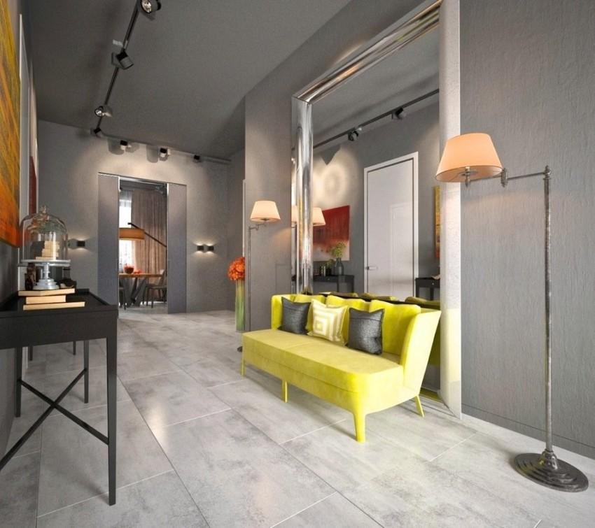 Напольные лампы, установленные на полу, являются отличным решением, особенно в прихожей в стиле лофт больших размеров