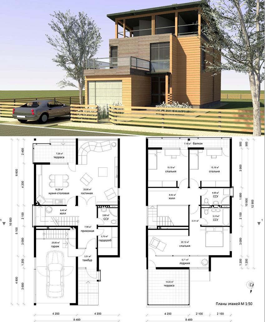 Проект двухэтажного частного дома с гаражом и террасой