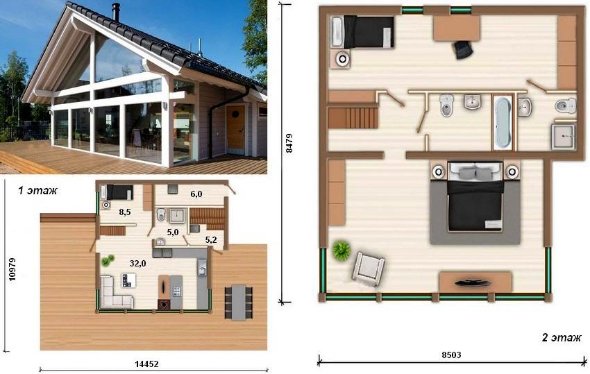 Проект дома в современном стиле с панорамными окнами и террасой