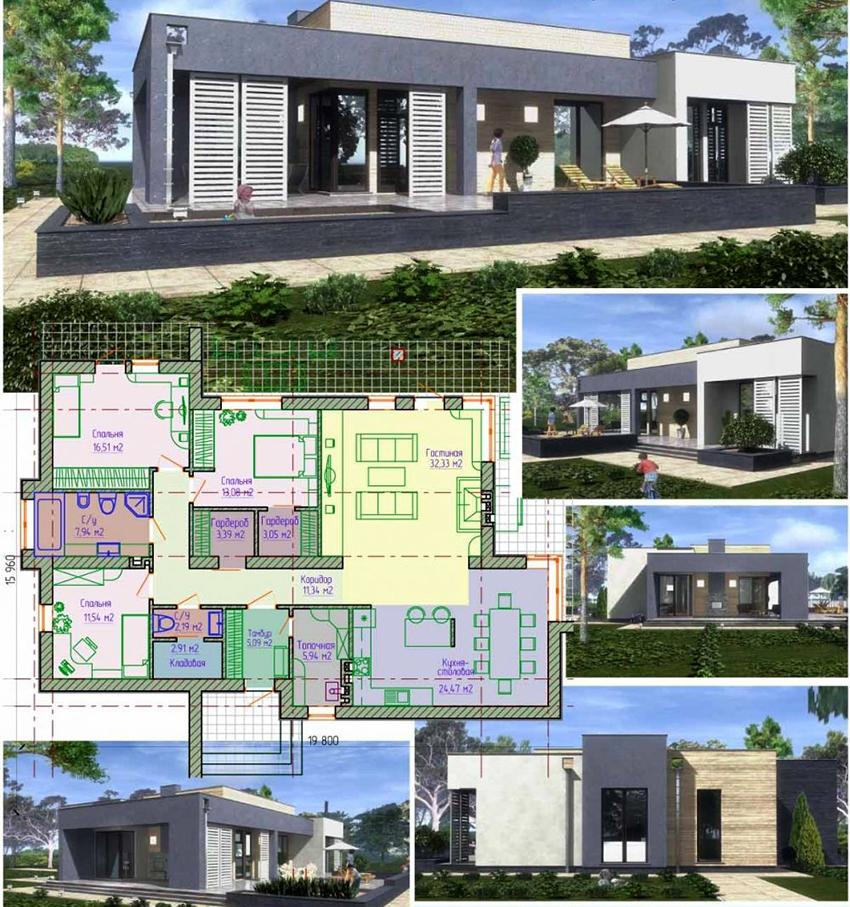 Проект современного одноэтажного дома размером 19,80х15,96 метров