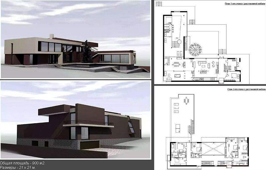 Проект дома в современном стиле общей площадью 900 м²