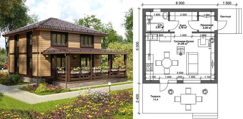 Проект двухэтажного дома с террасой размером 6х6 метров