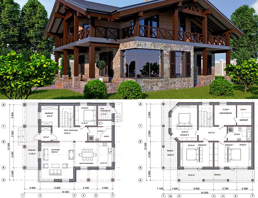 Проект двухэтажного дома в современном стиле размером 14,2х12,2 метров