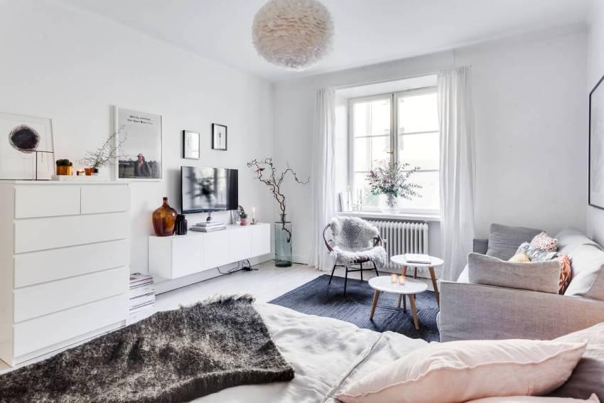 Основным цветом в скандинавском стиле оформления интерьера является - белый