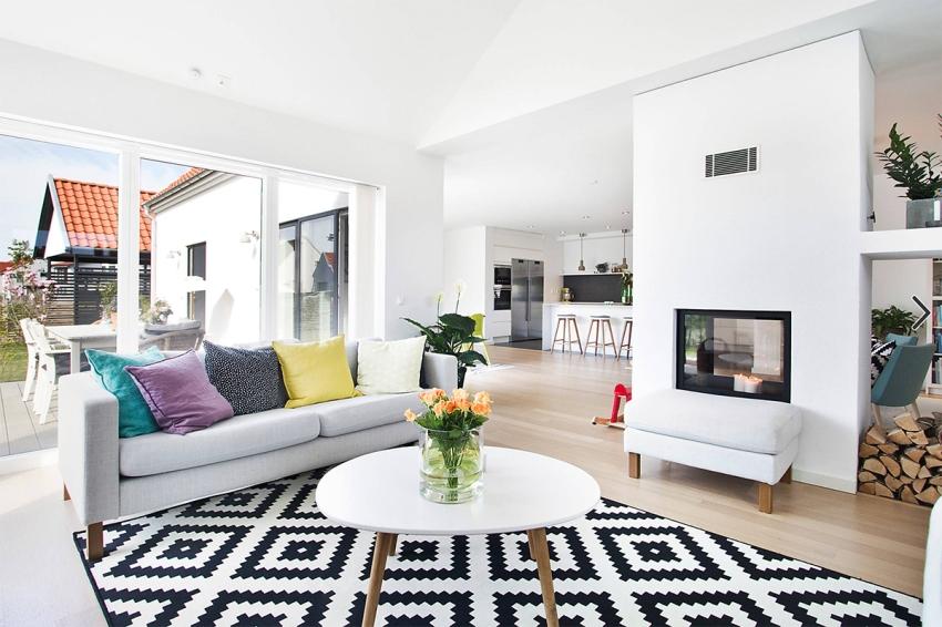 В интерьере дома в скандинавском стиле используется открытая планировка при оформлении большинства помещений