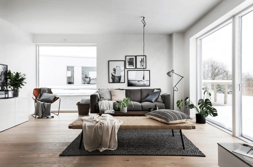 Белоснежный потолок и практически во всех случаях аналогичный тон для стен – характерная черта оформления пространства в скандинавском стиле