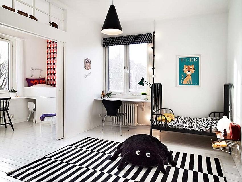 В дизайн детской скандинавского стиля хорошо впишется незамысловатые, компактные предметы мебели