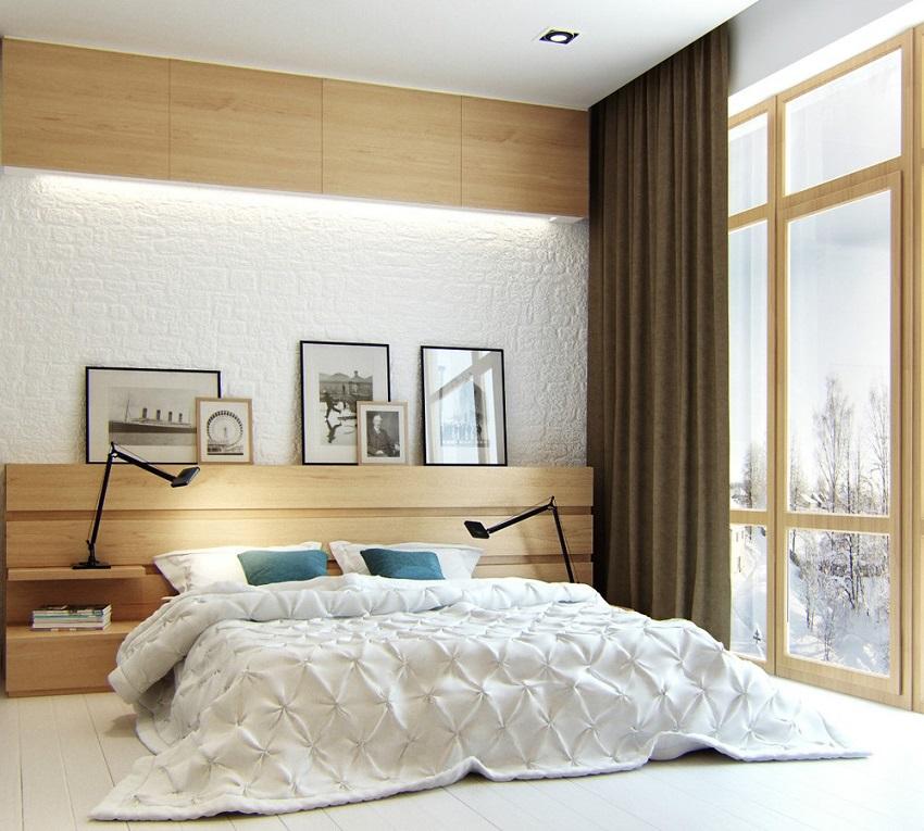 Скандинавская спальня должна быть в изобилии наполнена светом