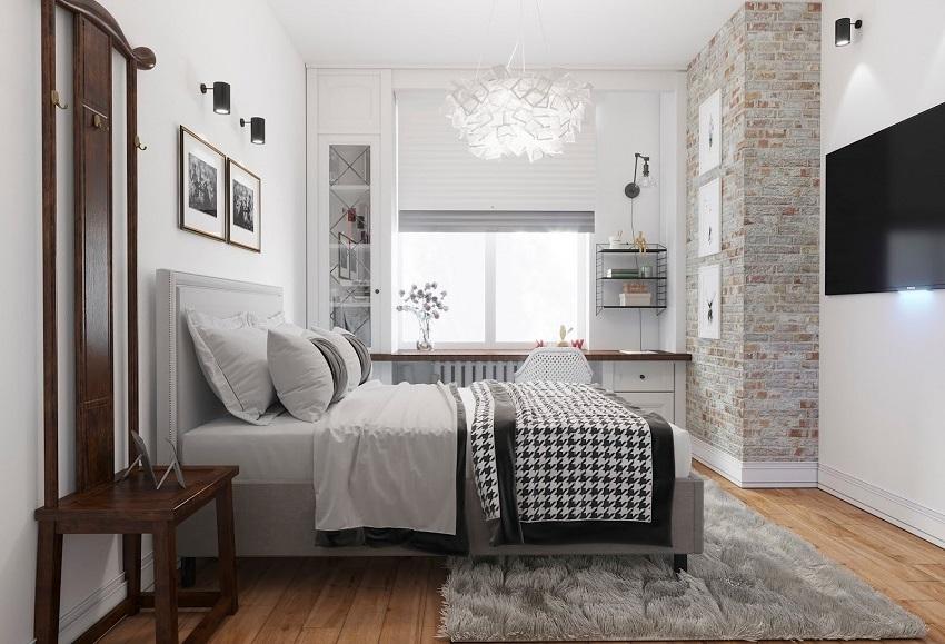 Минимальное количество тяжёлой мебели позволит получить максимально нежный интерьер спальни скандинавского стиля