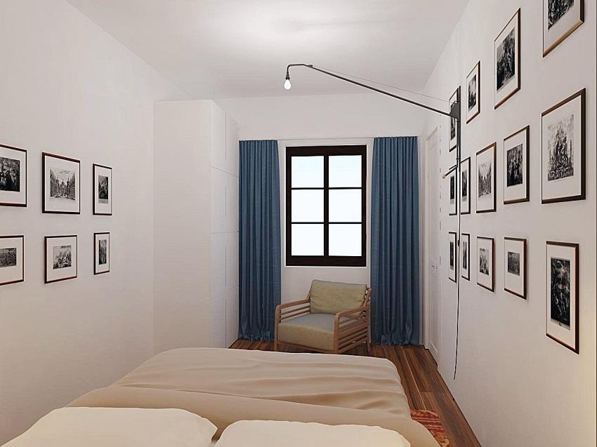 В спальню скандинавского стиля следует выбирать люстру необычной витиеватой формы