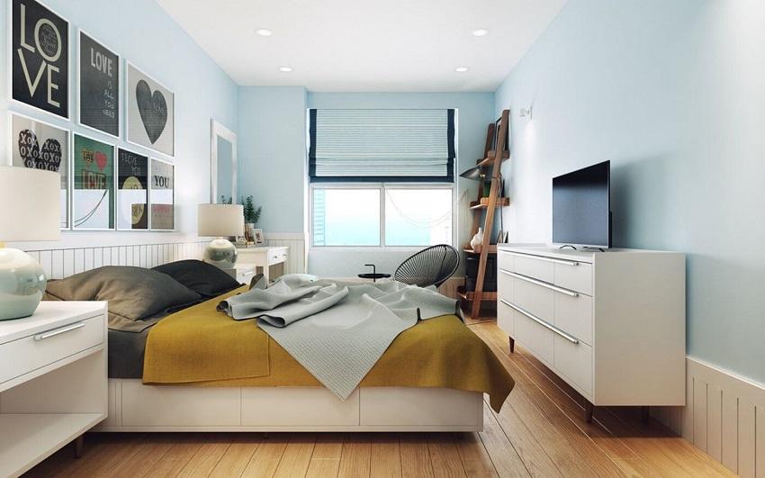 Потолок окрашивается исключительно в белый цвет, но допускается использование светло-серого оттенка
