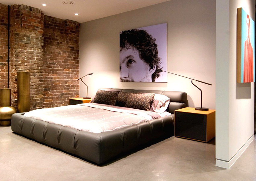 Кровать в стиле лофт должна быть большая и удобная, изготовленная из натуральных материалов