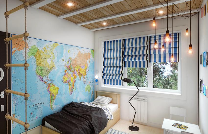 Для декора стен детской спальни можно использовать большую карту миру