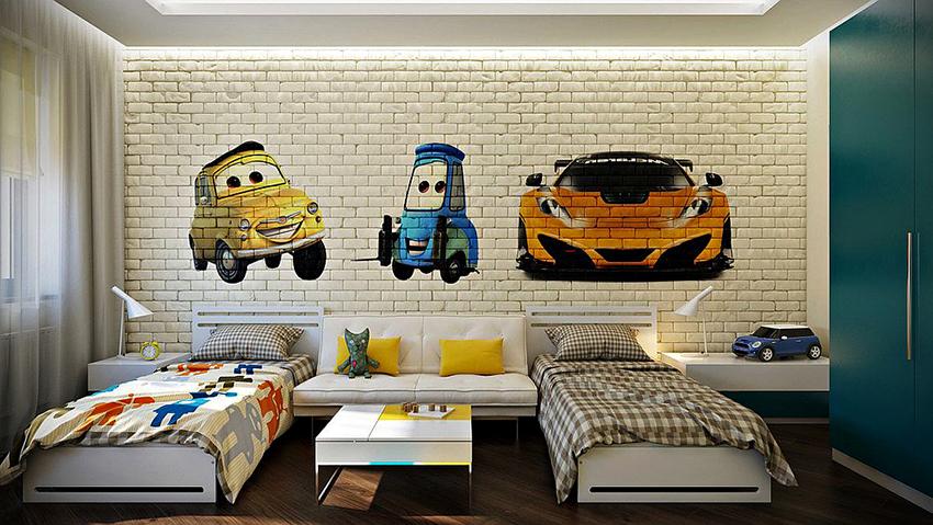 На стенах детской спальни можно нарисовать граффити или развесить плакаты