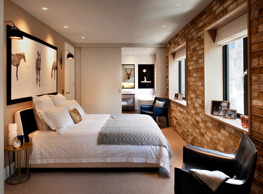 Мебель в спальне лофт должна быть функциональной и лаконичной