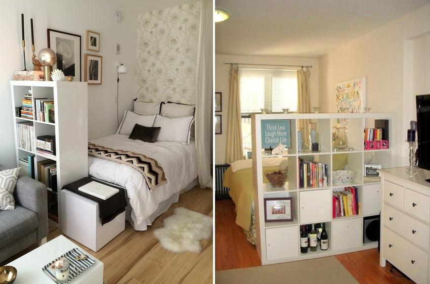 Мебель для тесных спален часто изготавливают небольших размеров и с возможностью совмещения элементов между собой