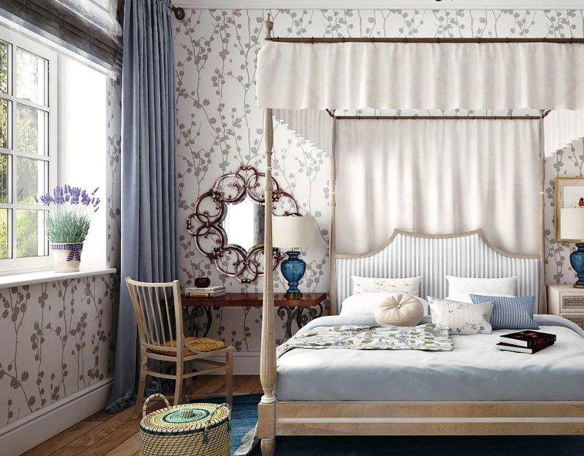 Вместо большого шкафа для интерьера в средиземноморском стиле рекомендуется приобрести комод и тумбу