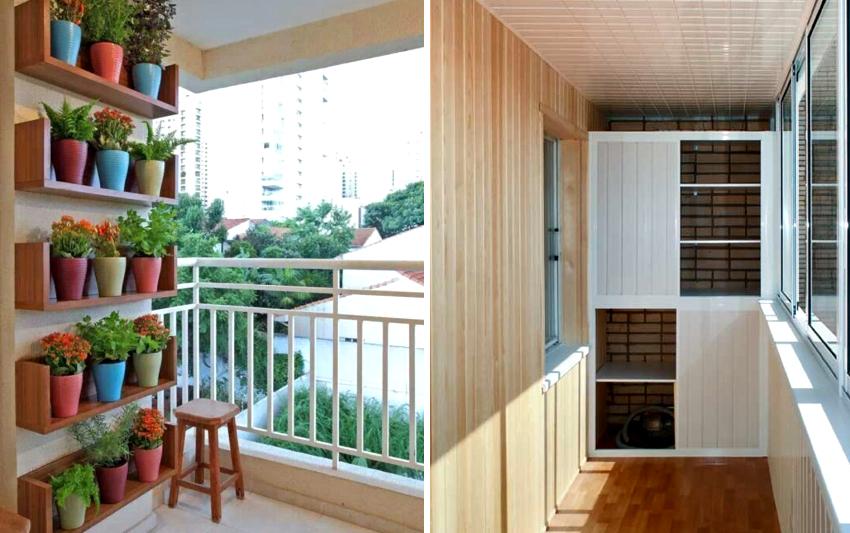 Деревянные балконные стеллажи могут быть как отрытого типа так и закрытого