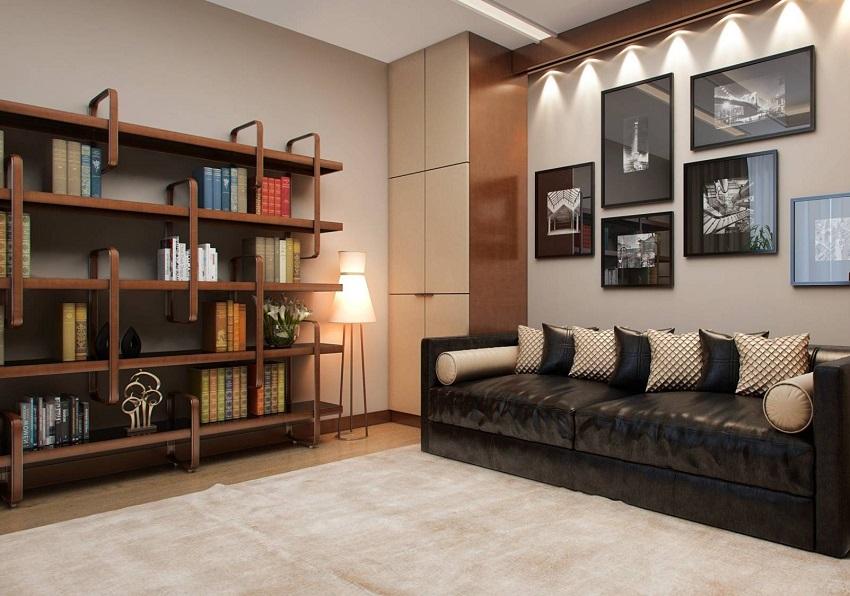 При установке стеллажей в жилых комнатах они должны соответствовать интерьеру помещения