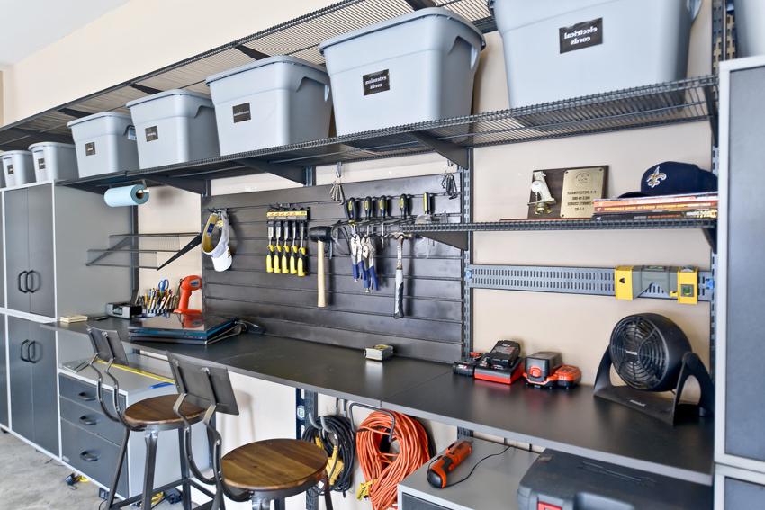 Стеллаж для инструмента должен иметь не только полки, но и ящички различной вместительности
