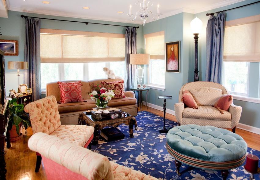 Разнообразие декора и текстиля - одна из особенностей стиля фьюжн