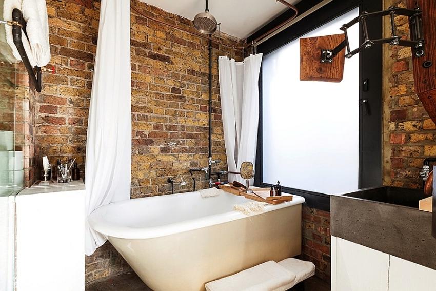 Интерьер ванной комнаты в стиле лофт выполняется в духе минимализма и простоты