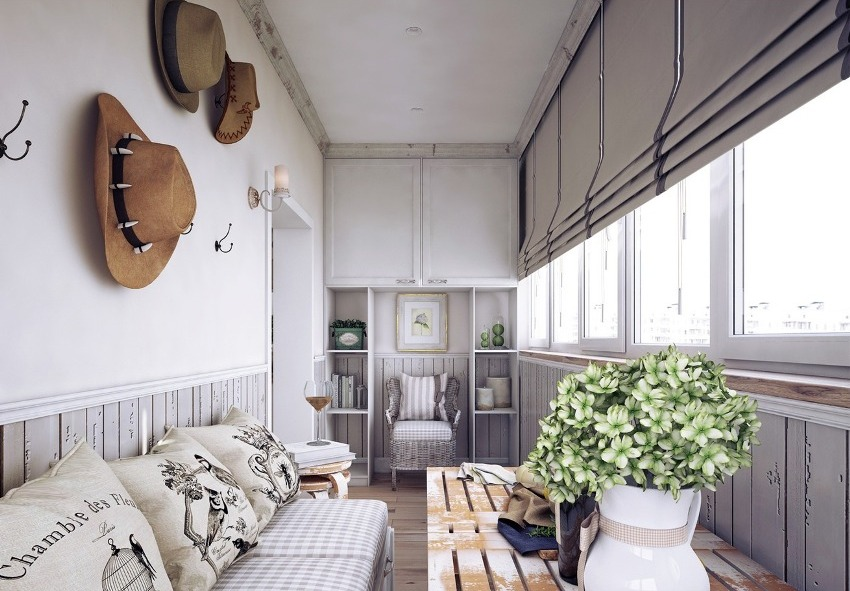 На балконе в стиле лофт не нужно устанавливать перегородки, следует оставить помещение максимально открытым