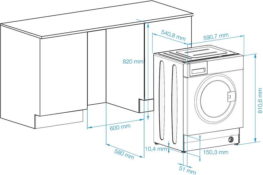 Размеры пространства под встраиваемую стиральную машину нужно просчитать еще до ее покупки