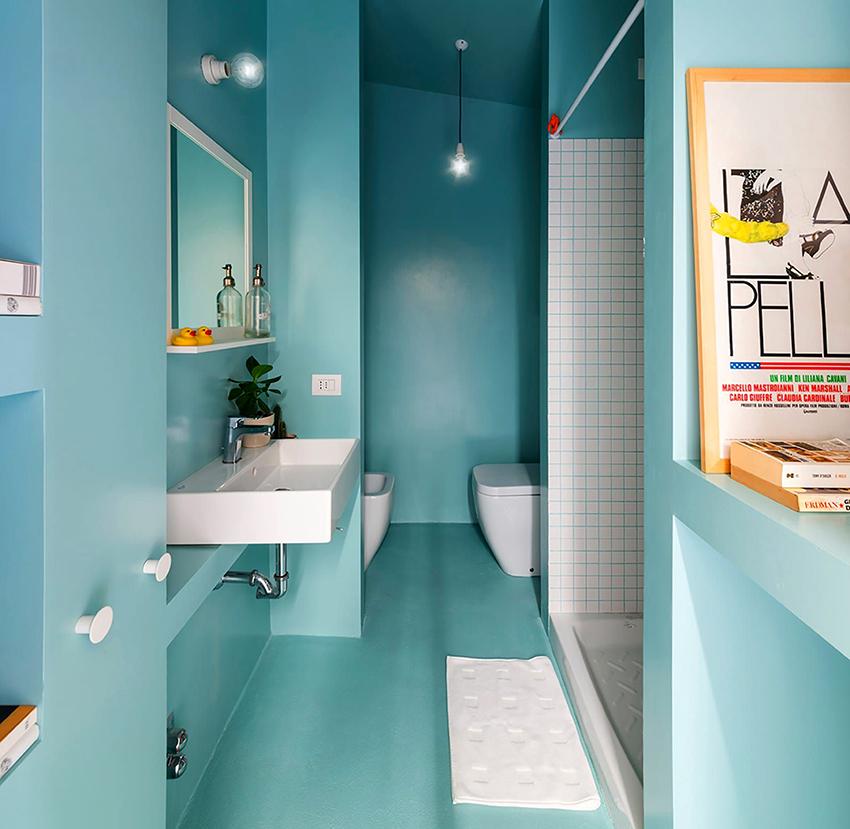 В интерьере ванной очень часто используются оттенки голубого и синего