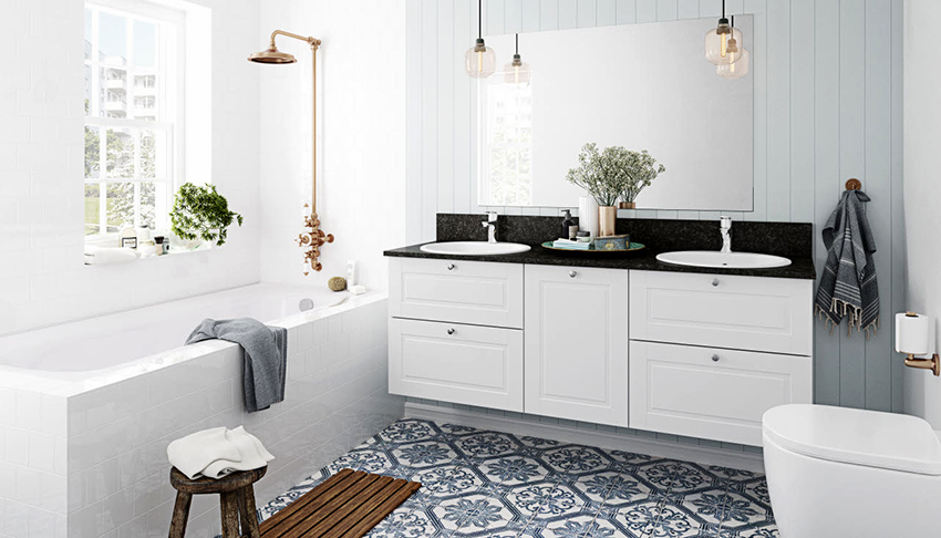 Яркая эффектная напольная плитка может стать изюминкой ванной комнаты в скандинавском стиле