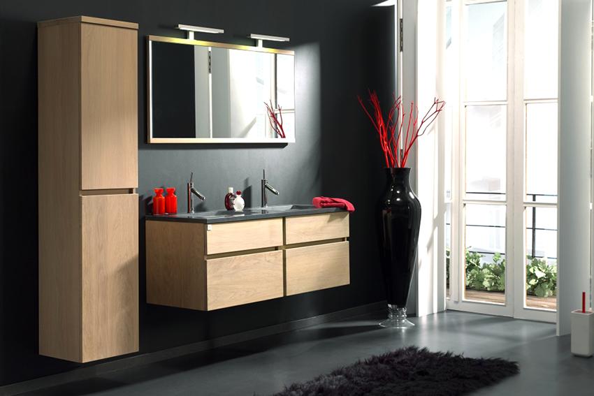 В скандинавской ванной комнате приемлемо использование минимального количества мебели